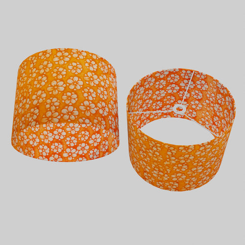 Drum Lamp Shade - P94 - Batik Star Flower on Orange, 40cm(d) x 30cm(h)