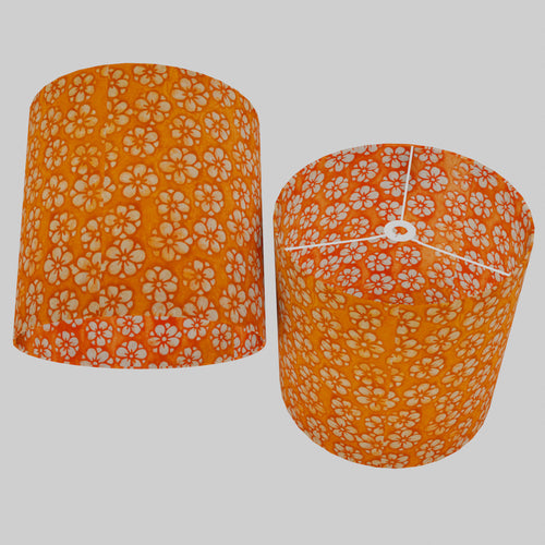 Drum Lamp Shade - P94 - Batik Star Flower on Orange, 40cm(d) x 40cm(h)