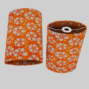 Oval Lamp Shade - P94 - Batik Star Flower on Orange, 20cm(w) x 30cm(h) x 13cm(d)