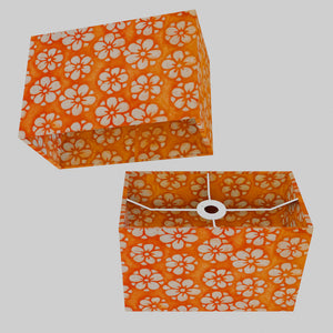 Rectangle Lamp Shade - P94 - Batik Star Flower on Orange, 30cm(w) x 20cm(h) x 15cm(d)