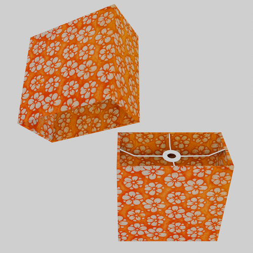 Rectangle Lamp Shade - P94 - Batik Star Flower on Orange, 30cm(w) x 30cm(h) x 15cm(d)