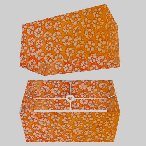 Rectangle Lamp Shade - P94 - Batik Star Flower on Orange, 50cm(w) x 25cm(h) x 25cm(d)