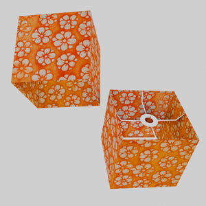 Square Lamp Shade - P94 - Batik Star Flower on Orange, 20cm(w) x 20cm(h) x 20cm(d)