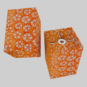 Square Lamp Shade - P94 - Batik Star Flower on Orange, 20cm(w) x 30cm(h) x 20cm(d)