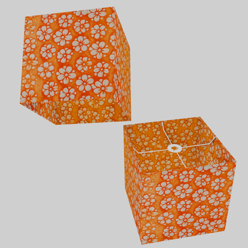 Square Lamp Shade - P94 - Batik Star Flower on Orange, 30cm(w) x 30cm(h) x 30cm(d)