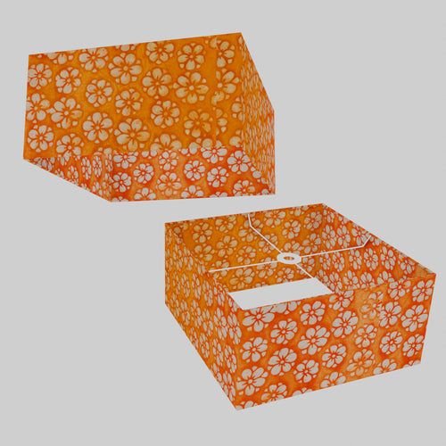 Square Lamp Shade - P94 - Batik Star Flower on Orange, 40cm(w) x 20cm(h) x 40cm(d)