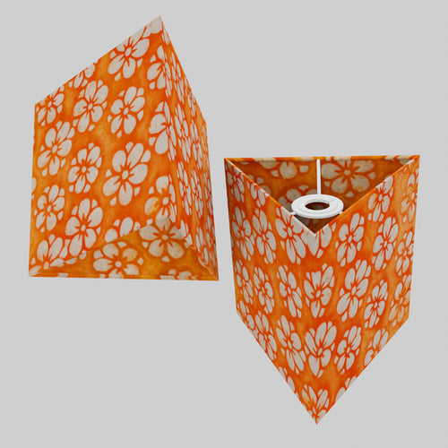 Triangle Lamp Shade - P94 - Batik Star Flower on Orange, 20cm(w) x 20cm(h)