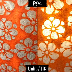 Square Lamp Shade - P94 - Batik Star Flower on Orange, 40cm(w) x 40cm(h) x 40cm(d)