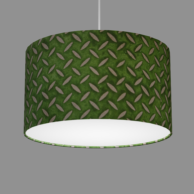 Drum Lamp Shade - P96 - Batik Tread Plate Green, 35cm(d) x 20cm(h)