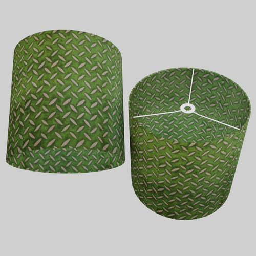 Drum Lamp Shade - P96 - Batik Tread Plate Green, 40cm(d) x 40cm(h)
