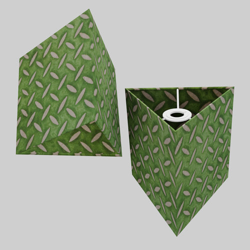 Triangle Lamp Shade - P96 - Batik Tread Plate Green, 20cm(w) x 20cm(h)