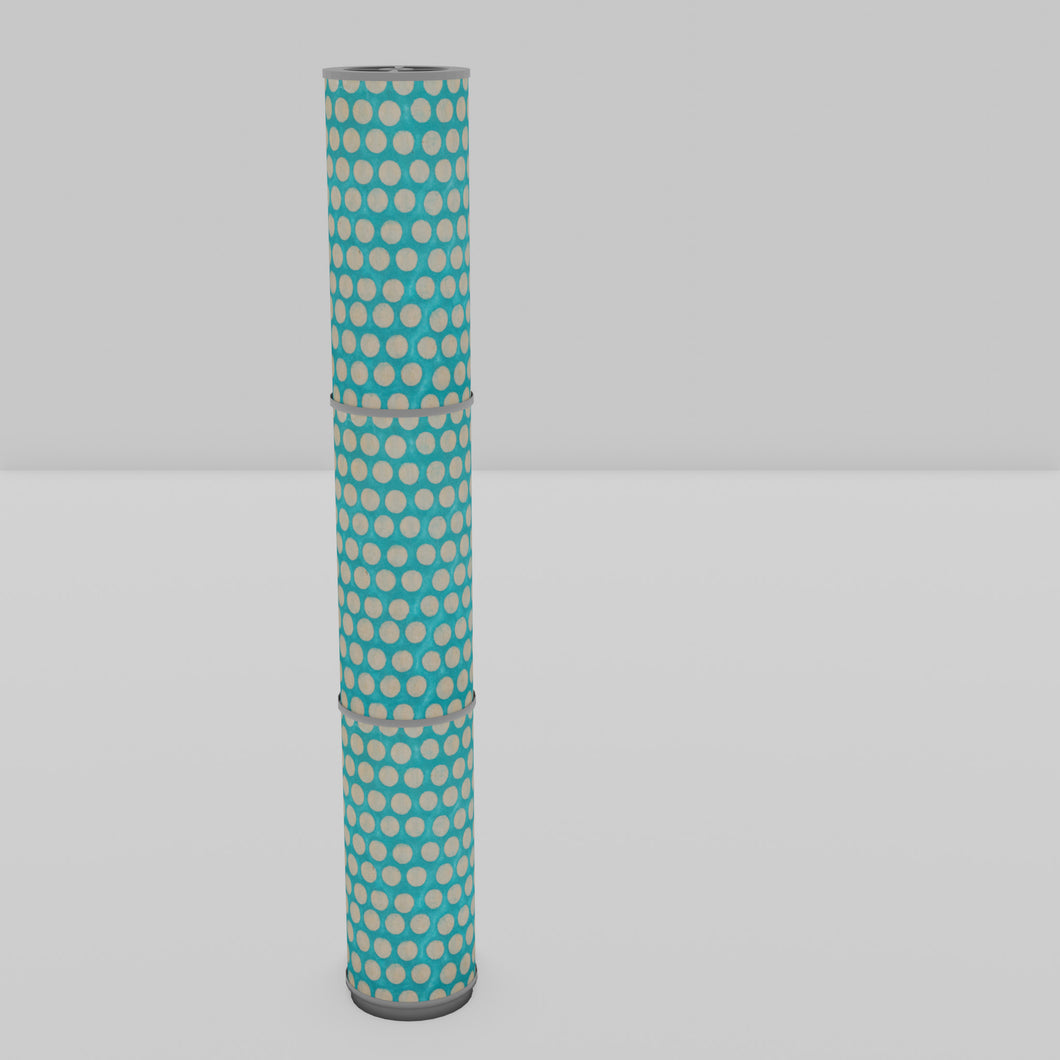 3 Panel Floor Lamp - P97 - Batik Dots on Cyan, 20cm(d) x 1.4m(h)