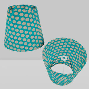 Conical Lamp Shade P97 - Batik Dots on Cyan, 23cm(top) x 35cm(bottom) x 31cm(height)