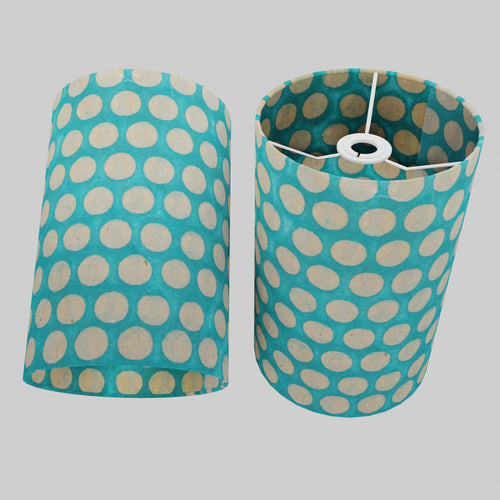 Drum Lamp Shade - P97 - Batik Dots on Cyan, 20cm(d) x 30cm(h)