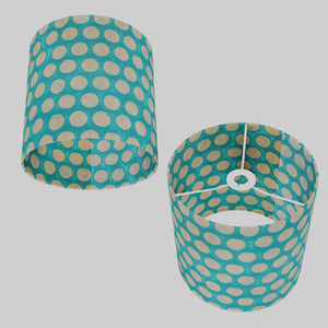 Drum Lamp Shade - P97 - Batik Dots on Cyan, 25cm x 25cm