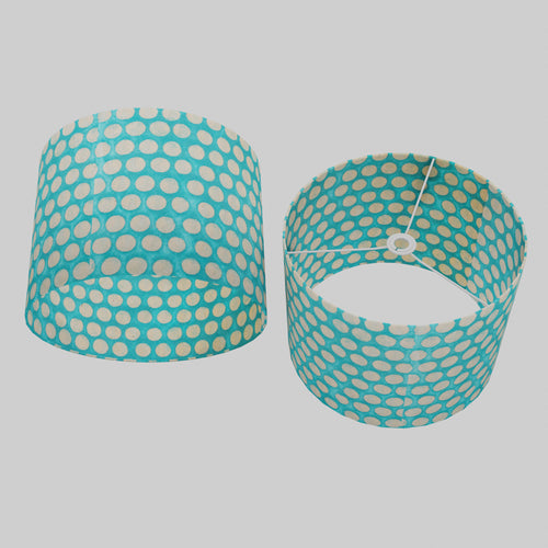 Drum Lamp Shade - P97 - Batik Dots on Cyan, 40cm(d) x 30cm(h)