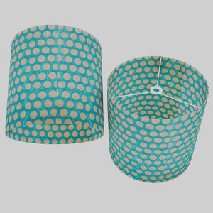 Drum Lamp Shade - P97 - Batik Dots on Cyan, 40cm(d) x 40cm(h)