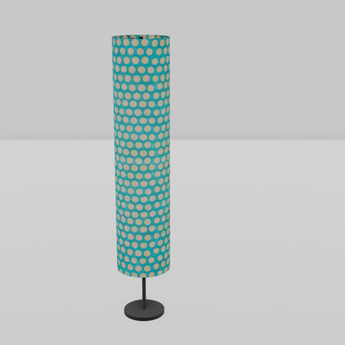 Drum Floor Lamp - P97 - Batik Dots on Cyan, 22cm(d) x 114cm(h)