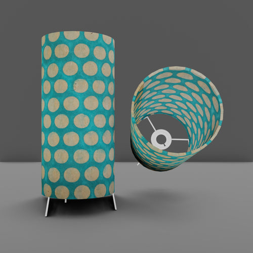 Free Standing Table Lamp Small - P97 - Batik Dots on Cyan