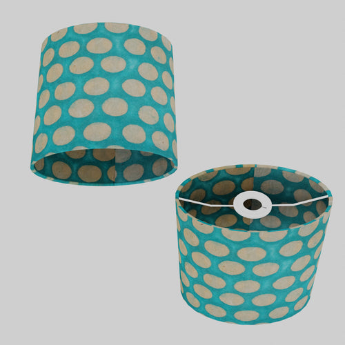 Oval Lamp Shade - P97 - Batik Dots on Cyan, 20cm(w) x 20cm(h) x 13cm(d)