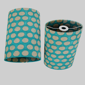 Oval Lamp Shade - P97 - Batik Dots on Cyan, 20cm(w) x 30cm(h) x 13cm(d)
