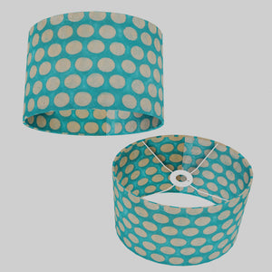 Oval Lamp Shade - P97 - Batik Dots on Cyan, 30cm(w) x 20cm(h) x 22cm(d)