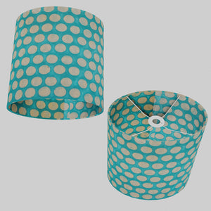 Oval Lamp Shade - P97 - Batik Dots on Cyan, 30cm(w) x 30cm(h) x 22cm(d)