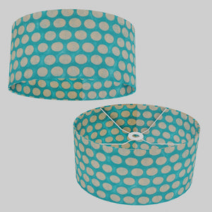 Oval Lamp Shade - P97 - Batik Dots on Cyan, 40cm(w) x 20cm(h) x 30cm(d)