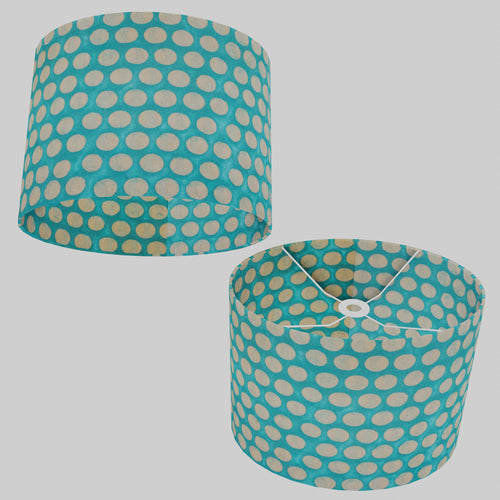 Oval Lamp Shade - P97 - Batik Dots on Cyan, 40cm(w) x 30cm(h) x 30cm(d)