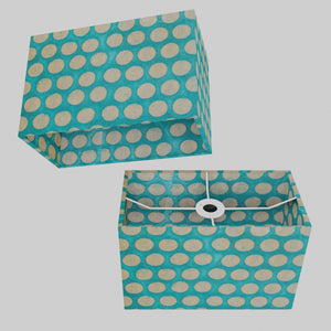 Rectangle Lamp Shade - P97 - Batik Dots on Cyan, 30cm(w) x 20cm(h) x 15cm(d)