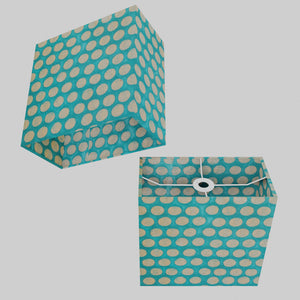 Rectangle Lamp Shade - P97 - Batik Dots on Cyan, 30cm(w) x 30cm(h) x 15cm(d)
