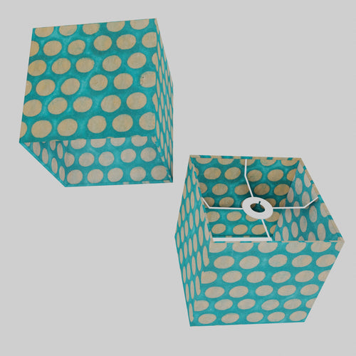Square Lamp Shade - P97 - Batik Dots on Cyan, 20cm(w) x 20cm(h) x 20cm(d)