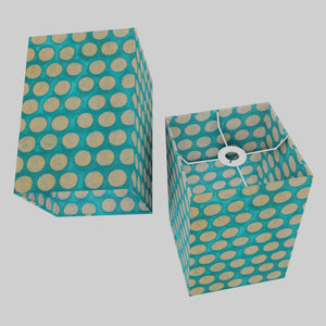 Square Lamp Shade - P97 - Batik Dots on Cyan, 20cm(w) x 30cm(h) x 20cm(d)