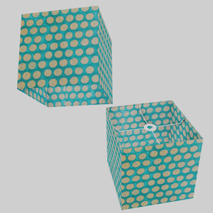 Square Lamp Shade - P97 - Batik Dots on Cyan, 30cm(w) x 30cm(h) x 30cm(d)