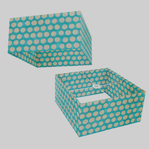 Square Lamp Shade - P97 - Batik Dots on Cyan, 40cm(w) x 20cm(h) x 40cm(d)