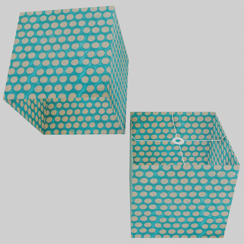 Square Lamp Shade - P97 - Batik Dots on Cyan, 40cm(w) x 40cm(h) x 40cm(d)