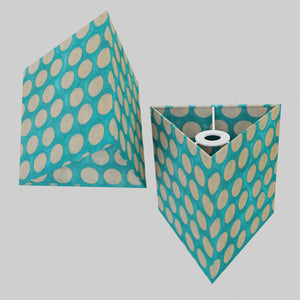 Triangle Lamp Shade - P97 - Batik Dots on Cyan, 20cm(w) x 20cm(h)
