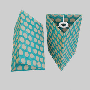 Triangle Lamp Shade - P97 - Batik Dots on Cyan, 20cm(w) x 30cm(h)