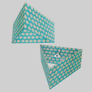 Triangle Lamp Shade - P97 - Batik Dots on Cyan, 40cm(w) x 20cm(h)