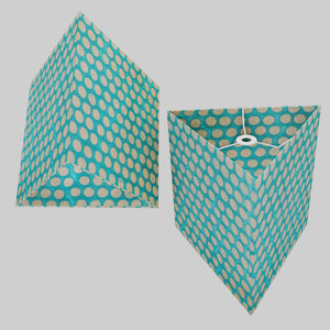Triangle Lamp Shade - P97 - Batik Dots on Cyan, 40cm(w) x 40cm(h)