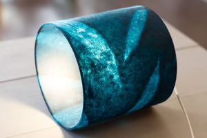 Drum Lamp Shade - P99 - Resistance Dyed Teal Bamboo, 30cm(d) x 20cm(h)