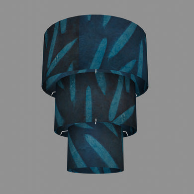 3 Tier Lamp Shade - P99 - Resistance Dyed Teal Bamboo, 40cm x 20cm, 30cm x 17.5cm & 20cm x 15cm