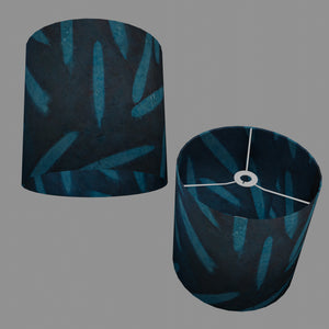 Drum Lamp Shade - P99 - Resistance Dyed Teal Bamboo, 30cm(d) x 30cm(h)