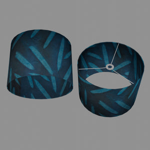 Drum Lamp Shade - P99 - Resistance Dyed Teal Bamboo, 40cm(d) x 30cm(h)