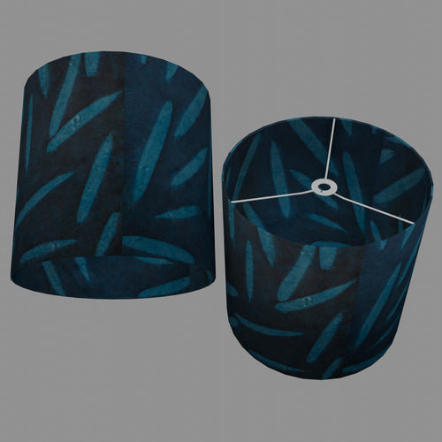 Drum Lamp Shade - P99 - Resistance Dyed Teal Bamboo, 40cm(d) x 40cm(h)