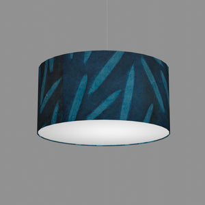 Drum Lamp Shade - P99 - Resistance Dyed Teal Bamboo, 50cm(d) x 25cm(h)