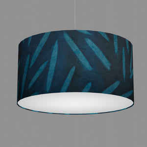 Drum Lamp Shade - P99 - Resistance Dyed Teal Bamboo, 60cm(d) x 30cm(h)