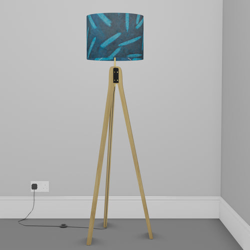 Oak Tripod Floor Lamp - P99 - Resistance Dyed Teal Bamboo