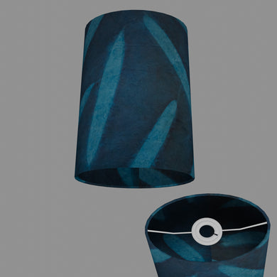 Oval Lamp Shade - P99 - Resistance Dyed Teal Bamboo, 20cm(w) x 30cm(h) x 13cm(d)