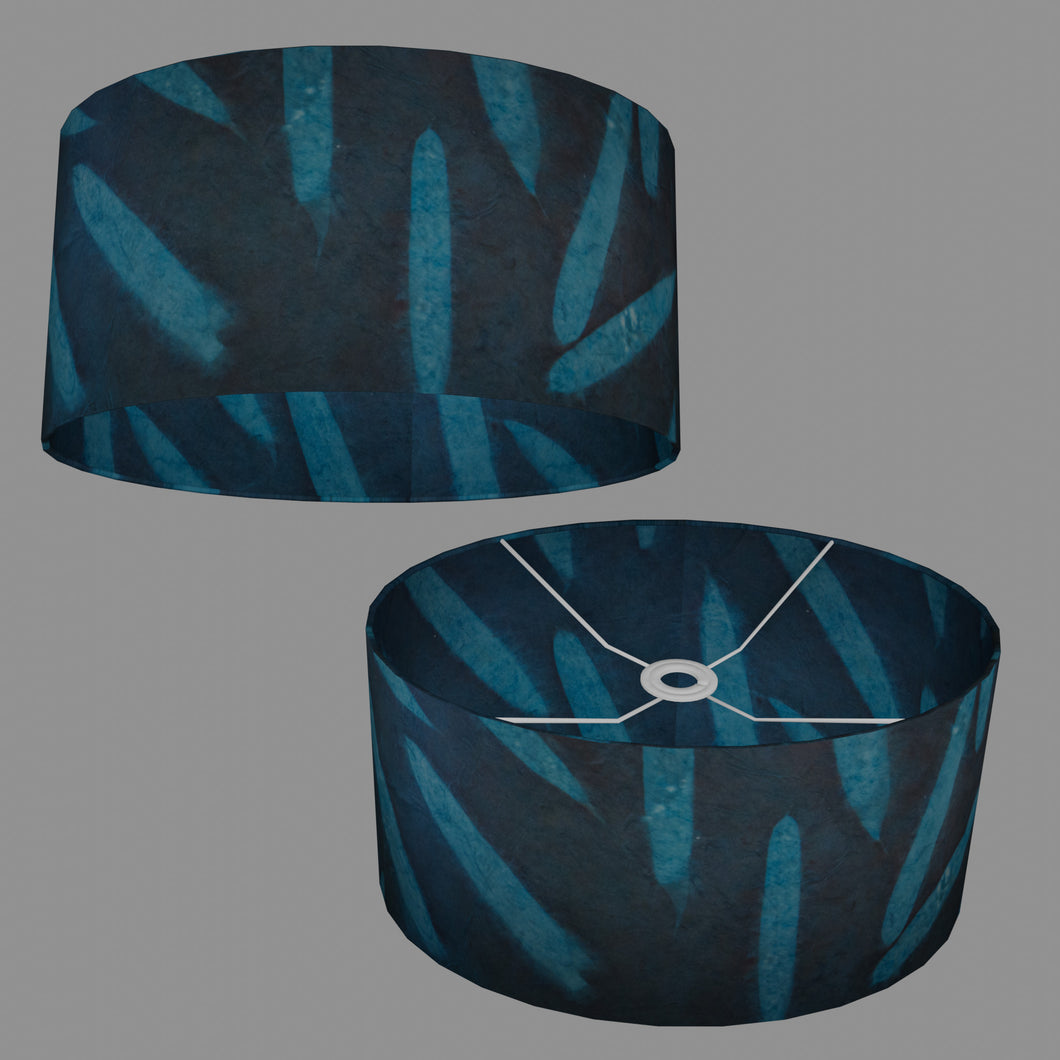 Oval Lamp Shade - P99 - Resistance Dyed Teal Bamboo, 40cm(w) x 20cm(h) x 30cm(d)